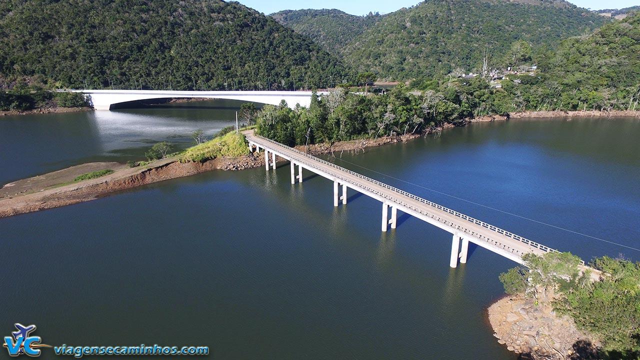Foto com drone nas pontes do Rio Socorro e Pelotas, em Vacaria - RS