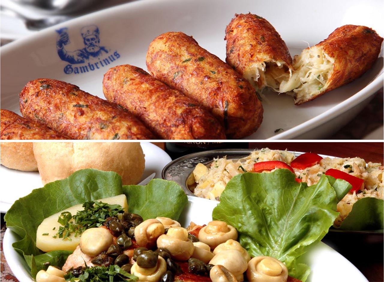 Pratos do restaurante Gambrinus